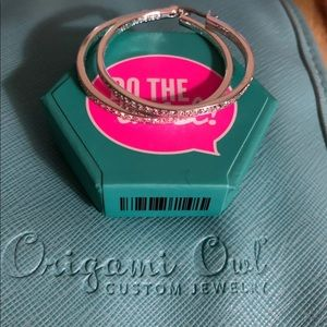 "Origami Owl Jewelry - ""The Kate"" Silver Pavé Hoop Earrings"
